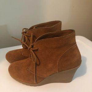 Suede Camel color wedge booties